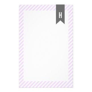 Lila Streifen-Monogramm Briefpapier