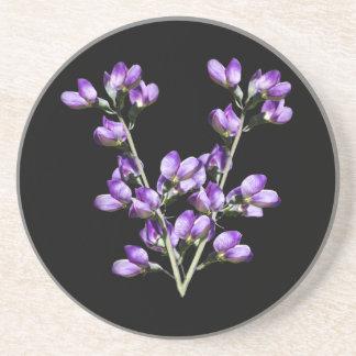 Lila süße Erbsen-Blumen-kundengerechter Sandstein Untersetzer