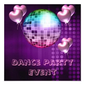 Lila Tanz-Party-Ereignis Mirrorball Liebe-Ballone Quadratische 13,3 Cm Einladungskarte
