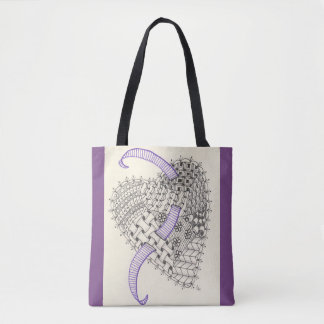 Lila Taschen-Tasche mit Gekritzel-Kunst-Herzen Tasche