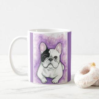 Lila Tasse der französischen Bulldogge
