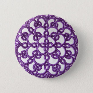 Lila Tatted Spitze Runder Button 5,1 Cm