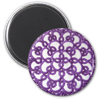 Lila Tatted Spitze Runder Magnet 5,1 Cm