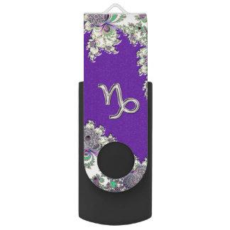 Lila Tierkreis-Zeichen-Steinbock-Fraktal Design USB Stick