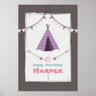Lila Tipi-Campings-Geburtstags-Plakat Poster