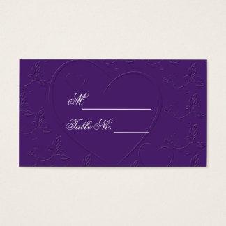 Lila Ton auf Ton-verbundener Herz-Platzkarte Visitenkarte