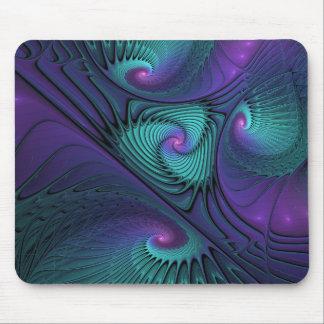 Lila trifft Türkis-moderne abstrakte Fraktal-Kunst Mousepad