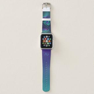 Lila trifft Türkis-modernes abstraktes Monogramm Apple Watch Armband
