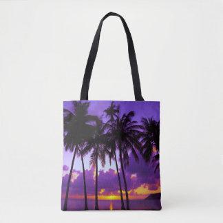 Lila tropischer Sonnenuntergang 3 ganz vorbei - Tasche