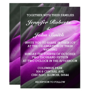 Lila Tulpe-Blumen-Foto-coole Hochzeits-Einladung Karte