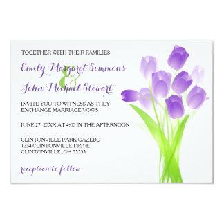 Lila Tulpen - Einladung der Hochzeits-3x5