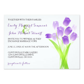 Lila Tulpen - Hochzeits-Einladung Karte