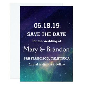 Lila u. aquamarine Universum-Nebelfleck-Hochzeit Karte
