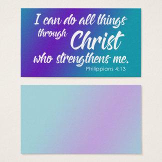 Lila u. aquamarines Ombre, Philippians-4:13 Visitenkarte