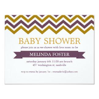 Lila u. gelbe Zickzack Baby-Duschen-Einladung Karte