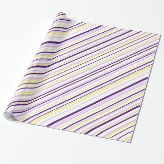 Lila u. gelbes Streifen-Verpackungs-Papier Geschenkpapier