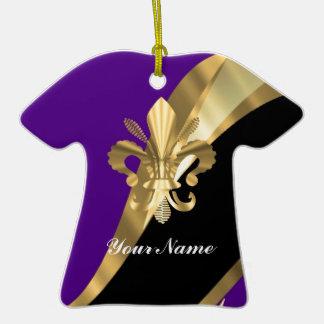 Lila u. gold Fleur de Lys Keramik T-Shirt-Ornament