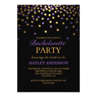 Lila u. GoldConfetti Bachelorette Einladung