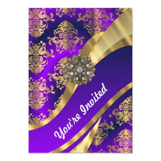 Lila u. Golddamast 12,7 X 17,8 Cm Einladungskarte