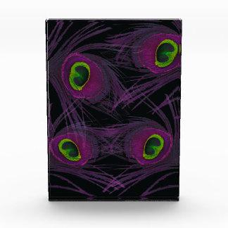 Lila u. grüne Pfau-Feder-Collage Acryl Auszeichnung