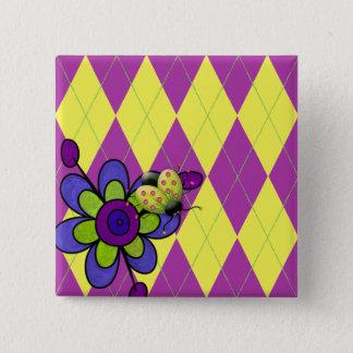 Lila u. grüner Rauten-Marienkäfer u. Blume Quadratischer Button 5,1 Cm