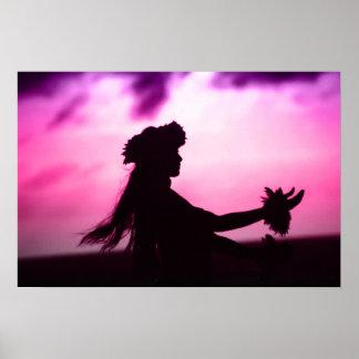 Lila u. rosa hawaiisches Plakat