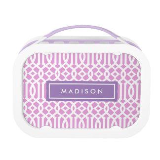 Lila u. rosa personalisierter Mittagessen-Kasten Brotdose