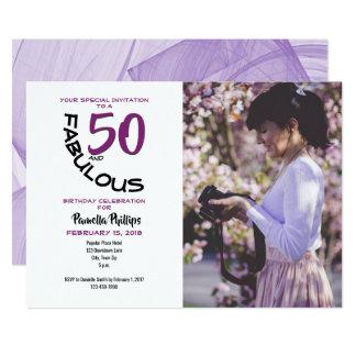 "Lila u. schwarze ""50 und fabelhafte"" Party Karte"