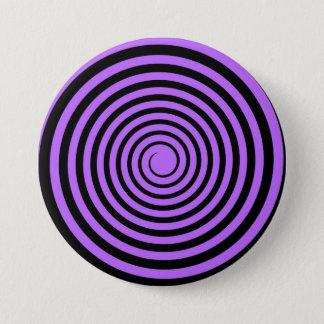 Lila u. schwarze Spirale kundengebundene Schablone Runder Button 7,6 Cm