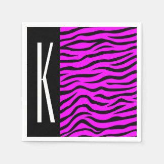 Lila u. schwarze Zebra-Streifen-Tierneondruck Serviette