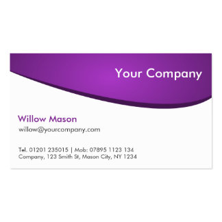 Lila u Weiß gekurvt berufliche Geschäfts-Karte