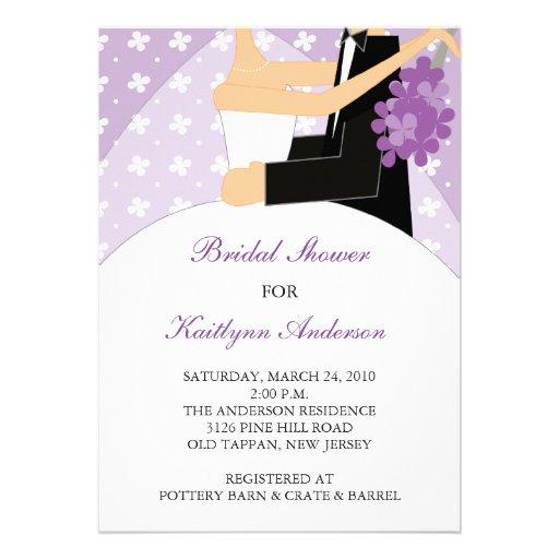 Lila u. weiße Braut-Brautparty-Einladung