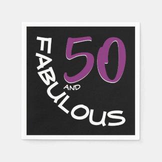 Lila u. weiße Typografie 50 und fabelhafter Serviette