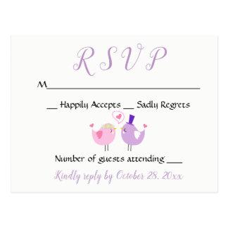 Lila UAWG, das Lovebird-rosa Lavendel-Hochzeit Postkarte