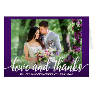 Lila ultraviolette Hochzeits-Liebe und Dank-Falte Karte