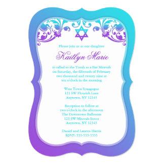 Lila und aquamariner blauer Wirbels-Schläger 12,7 X 17,8 Cm Einladungskarte