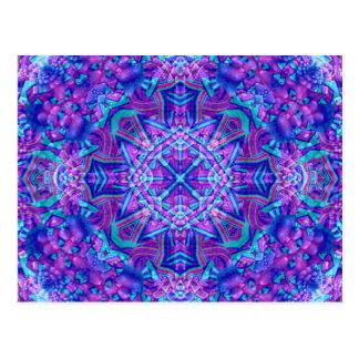 Lila und blaue Kaleidoskop-Postkarten Postkarte