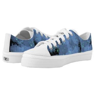 Lila und blaue Watercolor-Schuhe Niedrig-geschnittene Sneaker