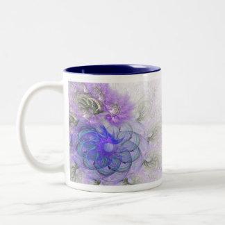 Lila und blauer Lacy abstrakter Blumen-Entwurf Zweifarbige Tasse