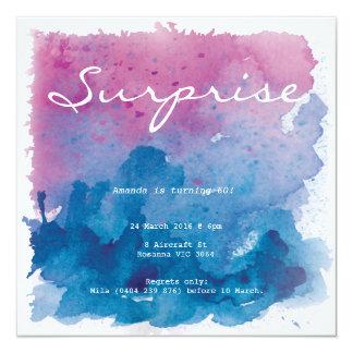 Lila und blauer quadratische 13,3 cm einladungskarte