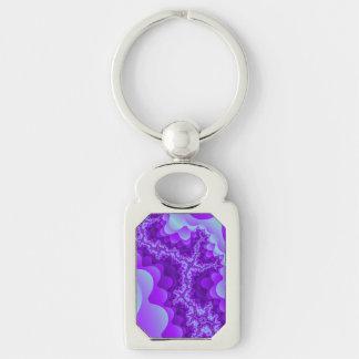 Lila und blaues Blasen-Korallen-Fraktal Design Schlüsselanhänger