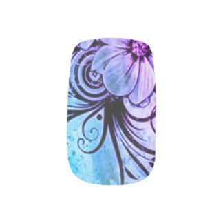 Lila und blaues Blumen Minx Nagelkunst