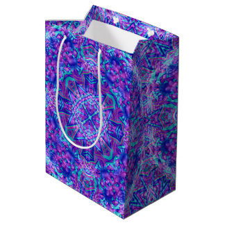 Lila und blaues Kaleidoskop-mittlere Mittlere Geschenktüte