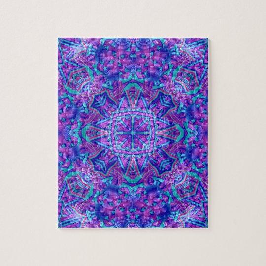 Lila und blaues Vintages Kaleidoskop-Puzzlespiel Puzzle
