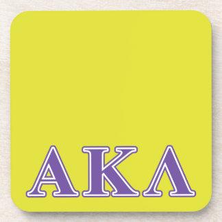 Lila und gelbe Buchstaben Alphakappa-Lambdas Getränkeuntersetzer