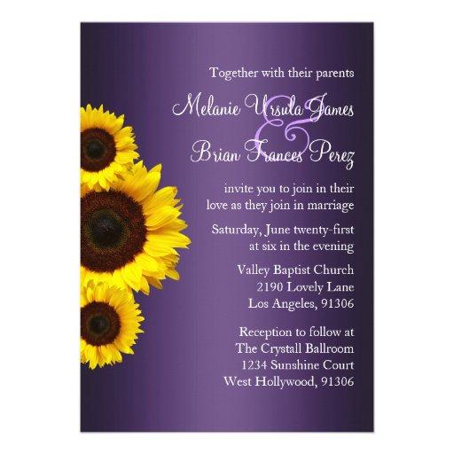 Lila und gelbe Sonnenblume-Hochzeits-Einladung
