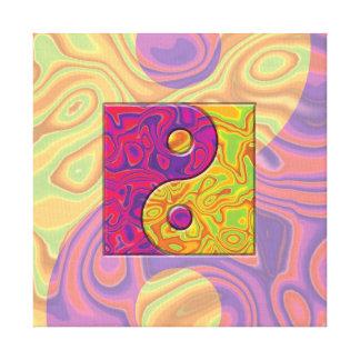 Lila und gelbes Yin Yang Symbol Leinwanddruck