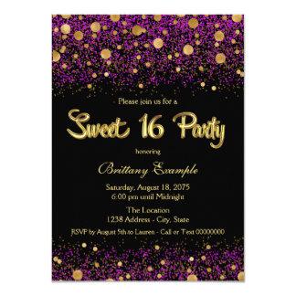 Lila und Gold16. Geburtstag-Party 11,4 X 15,9 Cm Einladungskarte