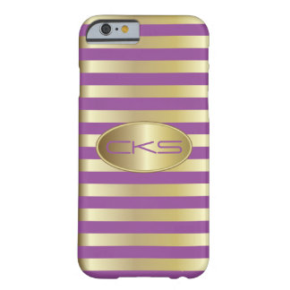 Lila und Gold Stripes mit Monogramm | Barely There iPhone 6 Hülle