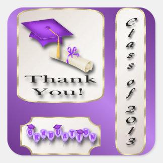 Lila und GoldAbschluss danken Ihnen Umschlag Quadrat-Aufkleber